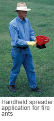 Handheld spreader application for fire ant treatment.