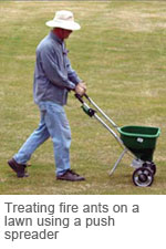 Lawn application treatment for fire ants using a push spreader.